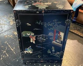 Black Lacquer, Hand Painted, Oriental Cabinet with 2 Doors and Inside Shelves