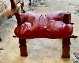 Vintage  CAMEL SADDLE, Genuine Red Leather removable seat cushion with folding wooden legs...what a great conversation piece and could be used as a footstool!