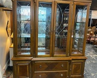 Large, Solid Wooden Lighted China Cabinet with Glass Shelves