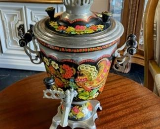 Vintage RUSSIAN SAMOVAR, Metal Hand Painted Hot Drink Server