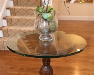 "Carved Wood Pedestal $125 With 30"" round thick tempered glass top 30"" round x 28"" tall Hurricane w/ Faux Orchid  $28 24.5"" tall."