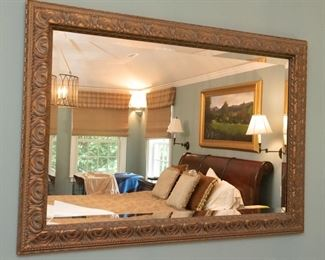 Large Gold-tone Mirror with Beveled Glass  $85 41.5 x 29.5; small piece chipped off of molding in upper right