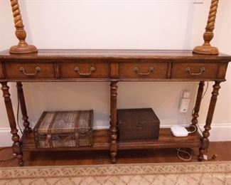 Shallow Carved Console Table   $135 58 x 11 x 33