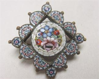 Italian micro mosaic pin