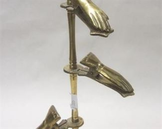 "Brass card holder stand with ""hand"" clips"