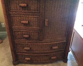 Tall Rattan Chest of Drawers