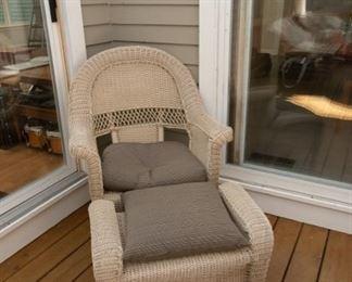 Two Beige Wicker Chairs & One Ottoman $175 Chairs - 29.5 x 19 x 37.5 & Ottoman - 26.5 x 17.5 x 17.5