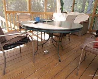 Round Patio Table w/ Glass Top  $65 48 x 28