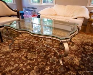Glass & Brushed Gold Coffee Table $225 50.25 x 36 x 20.25