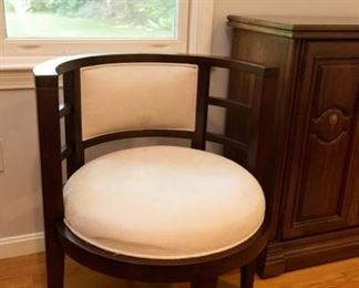 Pair Barrel Chairs with Off-White Microsuede Upholstery  $200 25.5 x 23.5 x 30