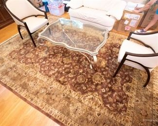 100% Wool Pile Rug $350 Browns, Bronze, Gold, Pale Green, Dark Red  104.5 x 147.5