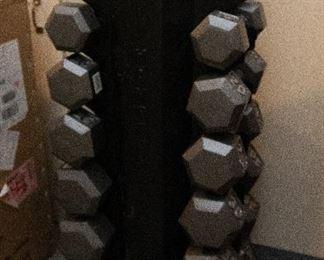 Hex Shape Dumbells  & Rack 5-40lbs, in 5lb increments $425