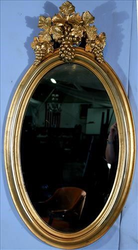 10a Victorian oval gold hanging mirror, 42 in. T, 23.5 in. W.