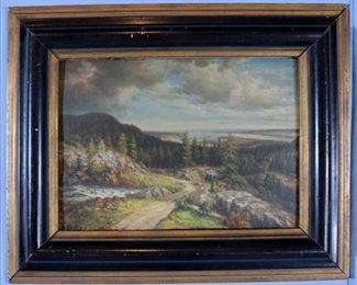 034a Oil on board of country scene signed T. Hill, ca. 1896, actual painting size 14 x 11