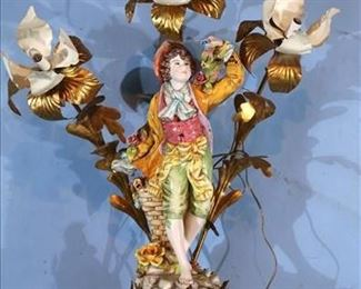 016a Italian porcelain figural lamp with 3 lighted glass arms, 33 in. T, 27.5 in. W.