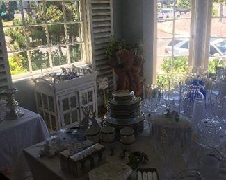 Vintage crystal, plates, flatware, vases, candle holders, trays,