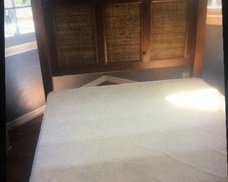 Beautiful Queen Wood headboard and box spring.