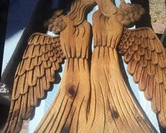 Hand Carved 5 foot Wood Angels from artist colony outside of Guadalajara.
