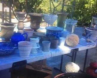 Vases, indoor and outdoor, baskets etc.