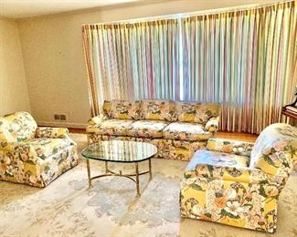 Century sofa and twin arm chairs: room view