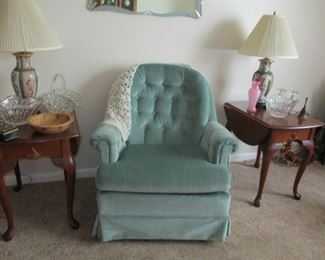 rocker, end tables & pair of lamps