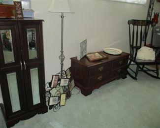 rocker, cedar chest, floor lamp & jewelry armoire