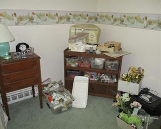 sewing cabinet, sewing machine & notions