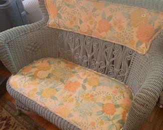 Wicker Grey and floral chair