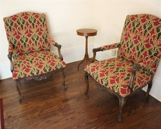 Pr carved French style arm chairs