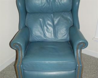 "Blue leather recliner, Bradington Young, 30"" W x 31"" D x 41"" H"