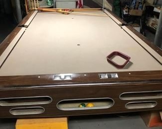 vintage pool table and cues, balls and rack