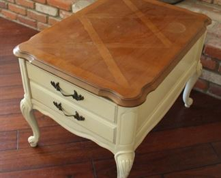 "#6.  $50.00. French Provincial side table 22.5""h X 22""w X 30""d"