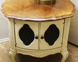 "#116.  $50.00. Hollywood Regency style lamp table w/ cabinet 23.5""h  X 27""w X 27""d"