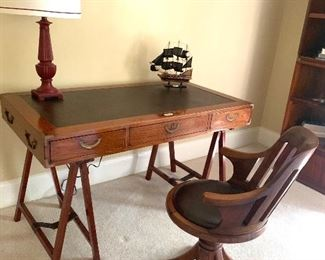 """51"""" wide leather top writing desk by Starbay"""