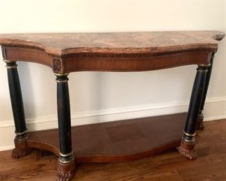 6' wide marble top console table