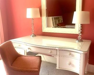 white desk by Stanley & pink chair by West Elm