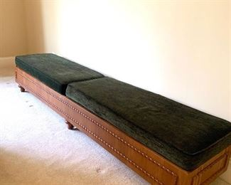 """cushioned bench, 8'5"""" long by 20"""" deep by 17"""" high"""