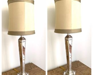 matching pair of mirrored lamps