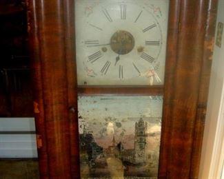 Antique weight driven clock, 1840's
