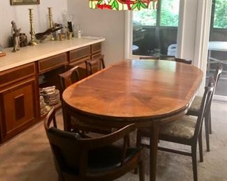 MCM Walnut Dining table & chairs by White Furniture Co.