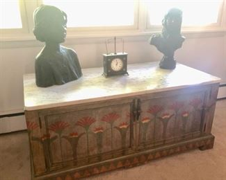 Painted chest & pair of bronze busts
