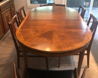 MCM Walnut Dining table & chairs by White Furniture Co
