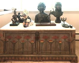 Antique painted chest, Antique Bronze Busts
