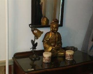 Center Hall Lowboy Buffet Server and Buddha Statue and Eagle Lamp and Candles.