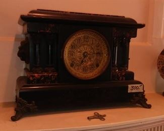 Antique Faux Slate and Marble Ansonia Clock Co. Mantle Clock All Original With Lion Head Carry Handles left and right.