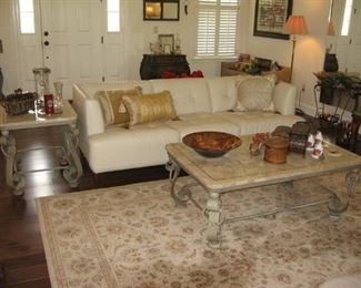 Matching Fossil Stone Top Coffee & End Table