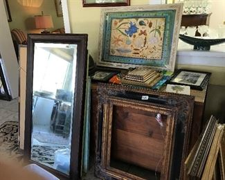 Mirrors, frames, large antique cedar chest