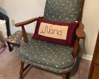 Wood Chair, Foot Stool
