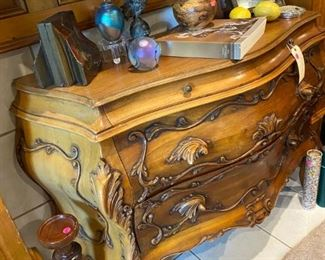 Bombay chest with paperweights and goodies