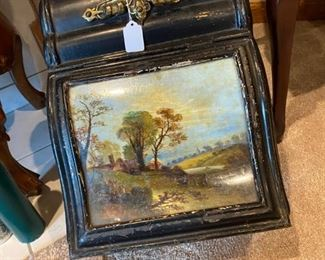 Interesting old coal scuttle with unusual hand painted covered glass lid